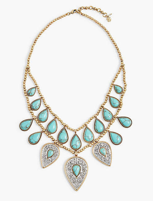 ETCHED TURQUOISE DROP BIB NECKLACE,