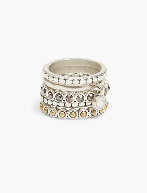 PAVE AND MOONSTONE STACK RING,
