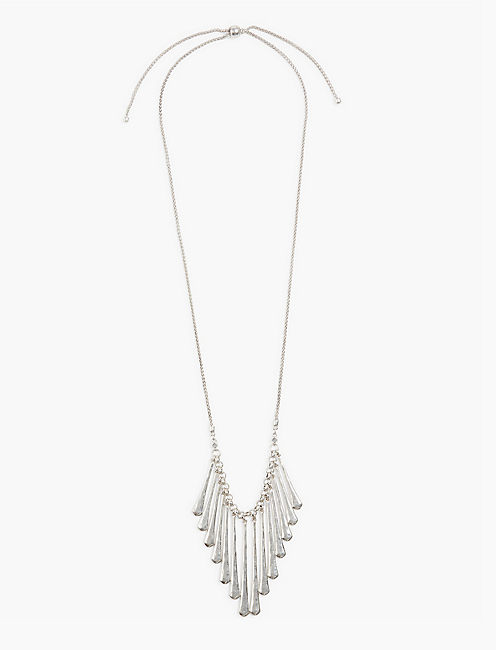 SILVER FAN NECKLACE,
