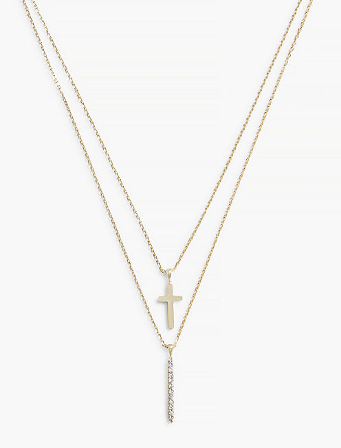 CROSS DOUBLE LAYER NECKLACE,