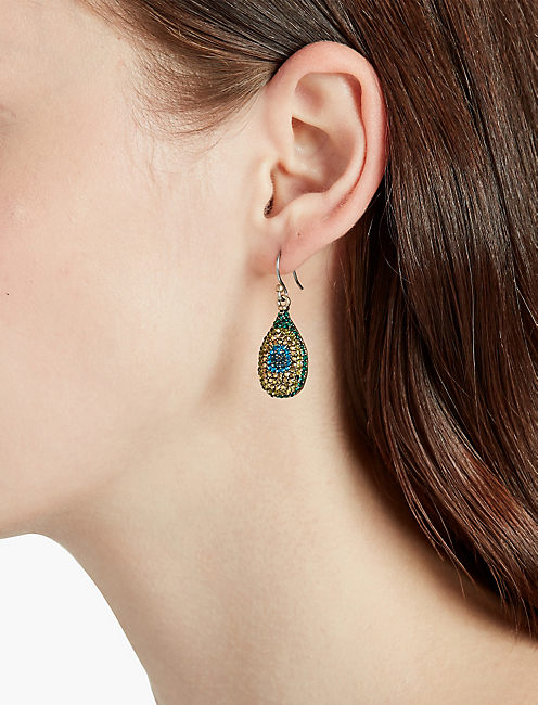 PEACOCK PAVE DROP EARRINGS,