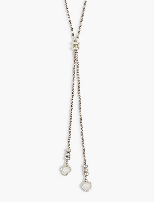 SILVER PEARL LARIAT NECKLACE,