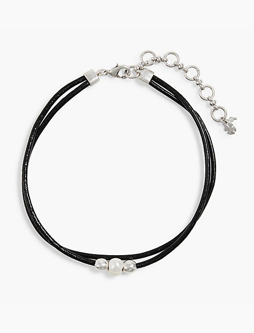 PEARL LEATHER CHOKER, SILVER