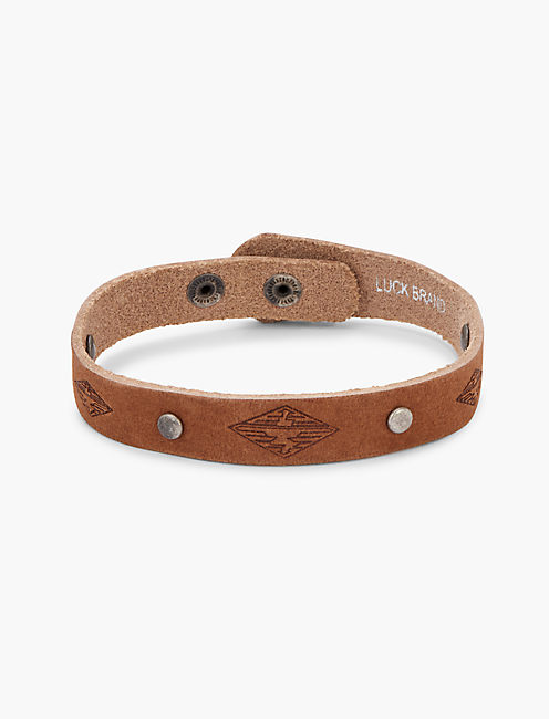 LEATHER STUDDED BRACELET, SILVER