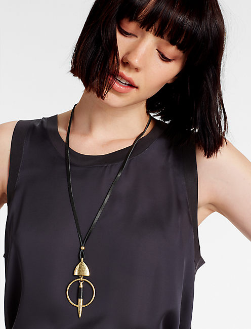 LEATHER WRAPPED NECKLACE,