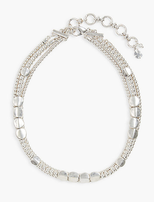 SILVER TRIPLE LAYER CHOKER,