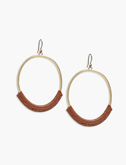 GOLD LEATHER HOOP,