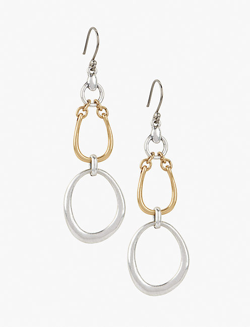 TWO TONE LINK EARRING,