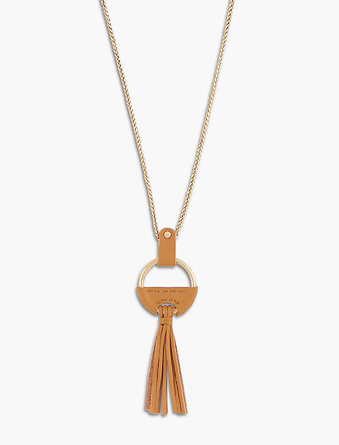 GOLD LEATHER NECKLACE,