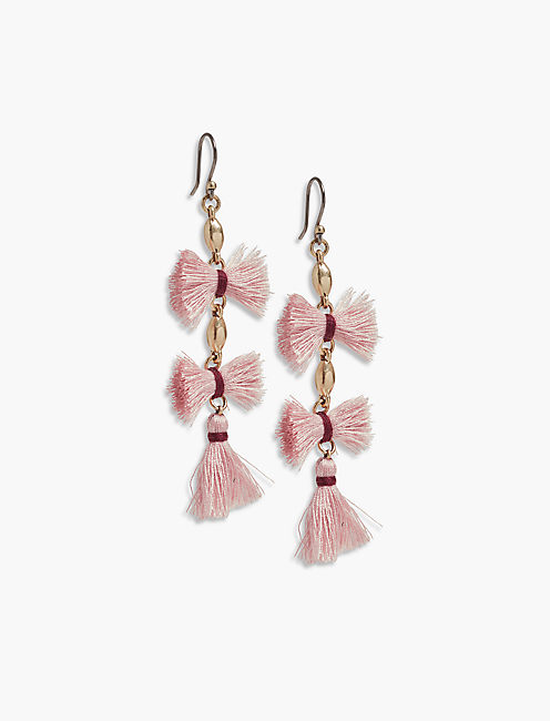 MAUVE FRINGE EARRINGS,