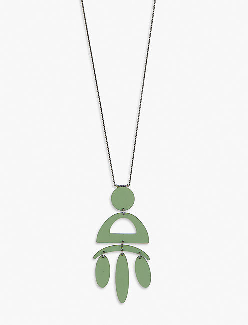 OLIVE PAINTED NECKLACE,