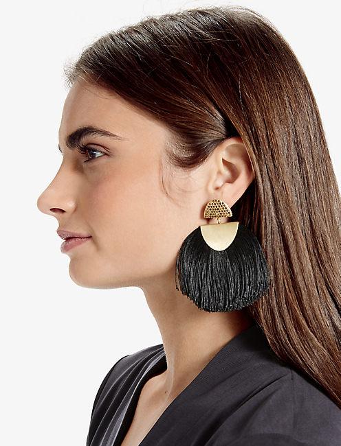 BLACK FRINGE EARRING,