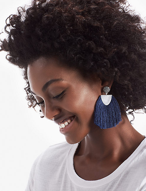 BLUE FRINGE EARRING,