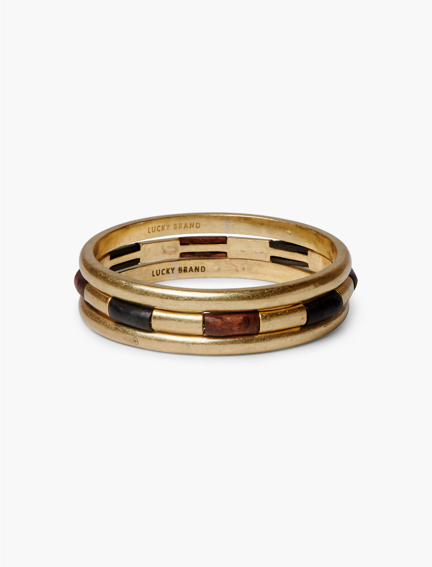 Lucky Brand Wood Bangle Set Bracelet (Gold) Bracelet r308uCQ