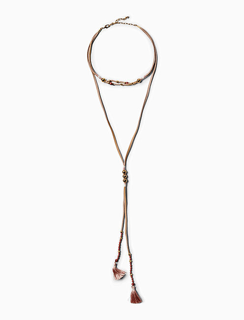 LEATHER LAYERED NECKLACE,