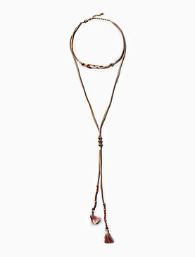 LEATHER LAYERED NECKLACE