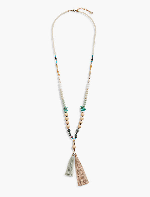 BEADED TASSEL NECKLACE,