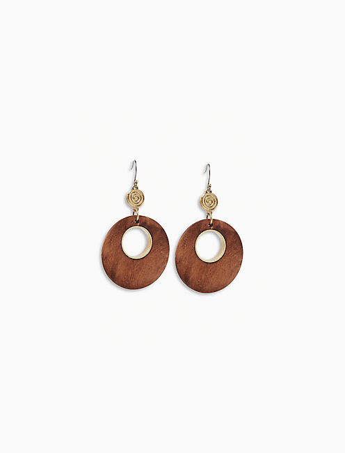 WOOD CIRCLE DROP EARRING,