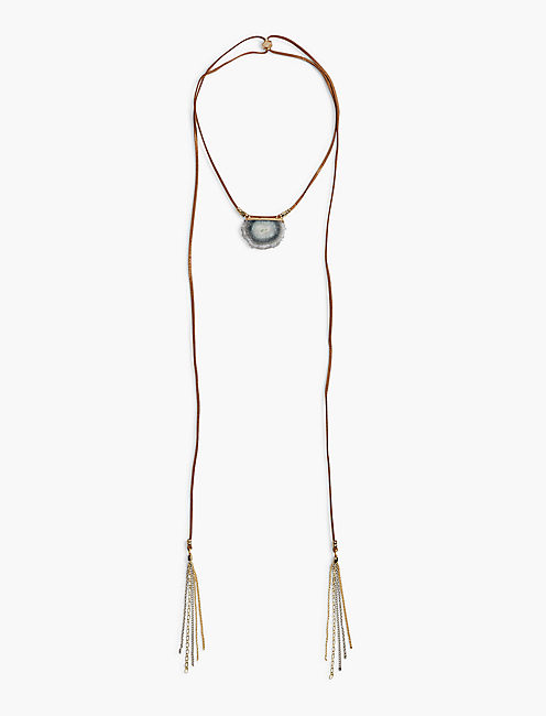 LEATHER AGATE NECKLACE,