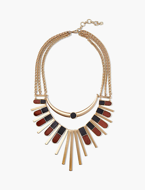 WOOD STATEMENT NECKLACE,