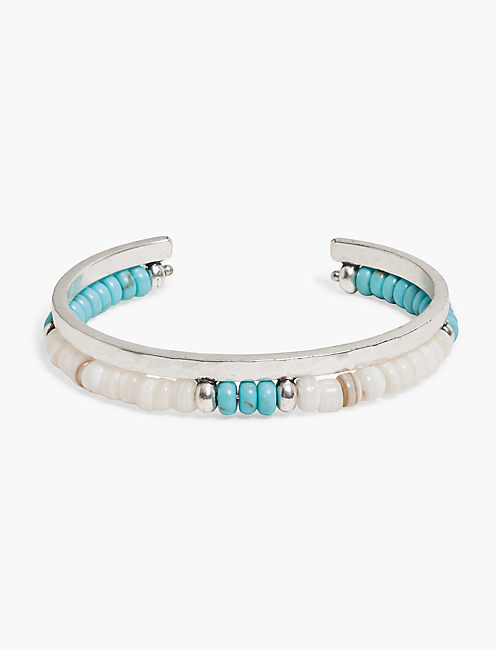 TURQUOISE BEADED CUFF BRACELET,