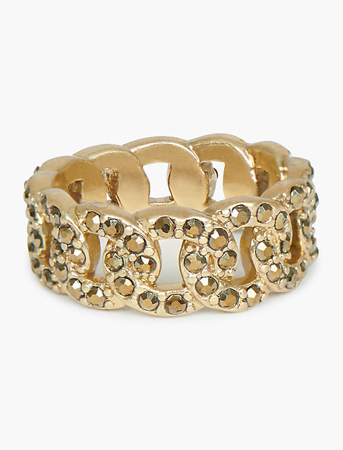 PAVE CHAIN RING, GOLD