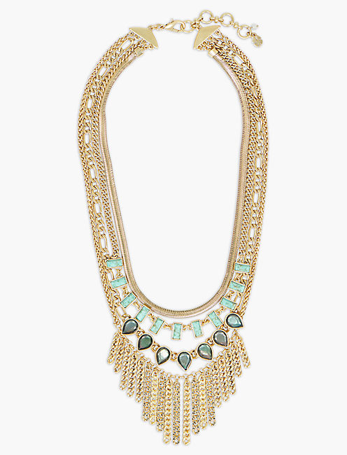 SET STONE CHAIN STATEMENT NECKLACE,