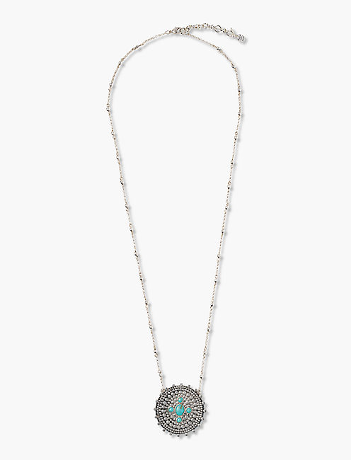 TURQUOISE & SILVER PENDANT NECKLACE,