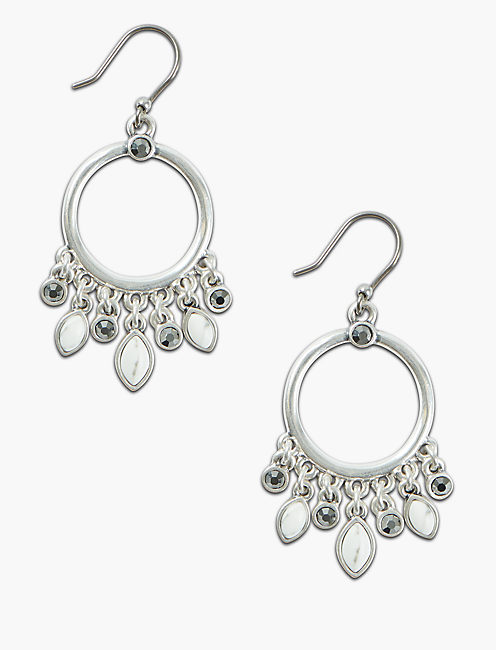 PAVE STONE DANGLE HOOPS,