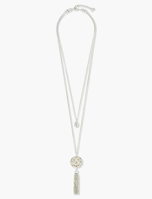 OPENWORK PAVE FRINGE LAYER NECKLACE,