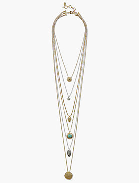 SET STONE LUCKY LAYER NECKLACE