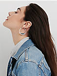 Silver PAVE HOOPS, SILVER