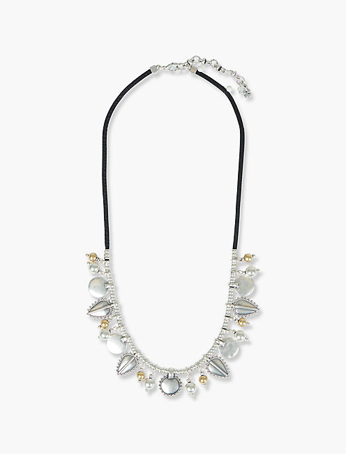 LEATHER DISK COLLAR NECKLACE,
