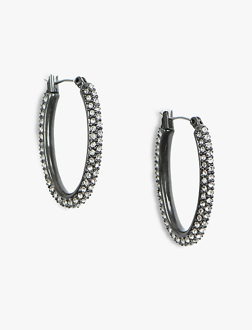 SMALL OXODIZED PAVE HOOPS,