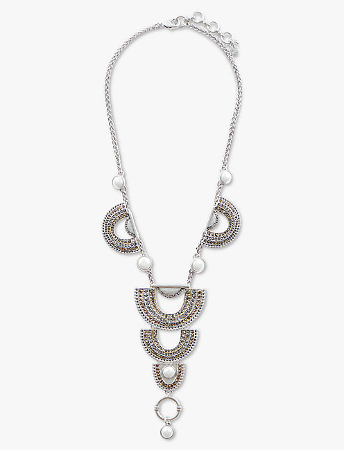 PAVE ARCH DRAMA NECKLACE, TWO TONE