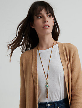 GOLD AND TURQUOISE SET STONE TASSEL NECKLACE