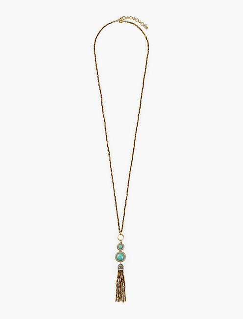 GOLD AND TURQUOISE SET STONE TASSEL NECKLACE,