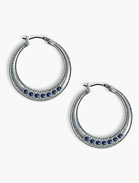 ROPE TEXTURED LAPIS HOOPS