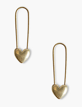 HEART SAFETY PIN EARRINGS