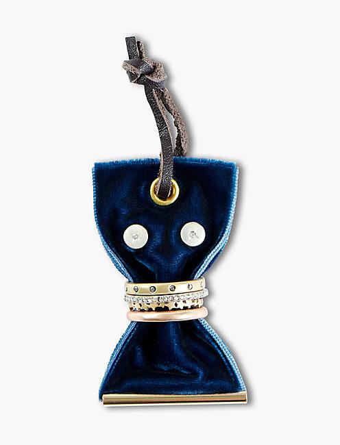 BLUE VELVET EARRING AND RING SET,