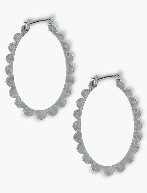 OVAL SCALLOPED EDGE HOOPS, SILVER