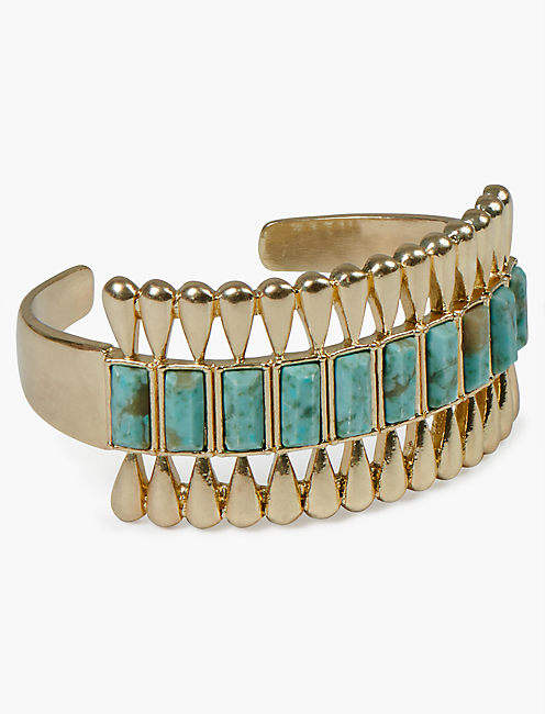 INLAID TURQUOISE GOLD DECO CUFF, GOLD