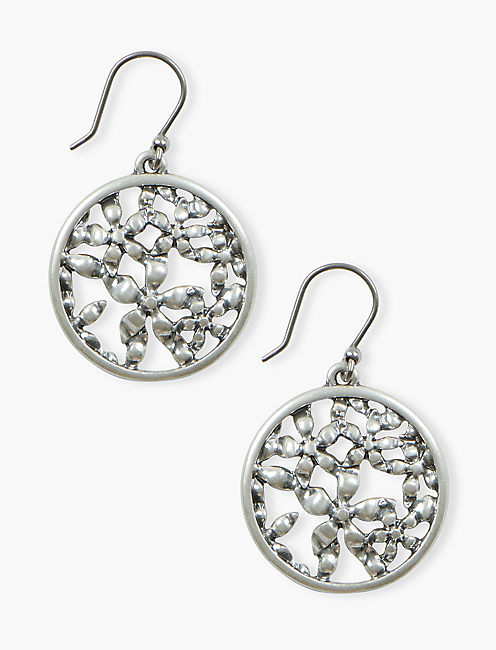 FLORAL OPENWORK COIN DROP, SILVER