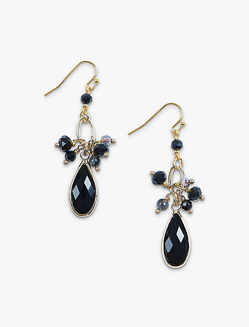 BLACK GOLD DROP EARRING, GOLD