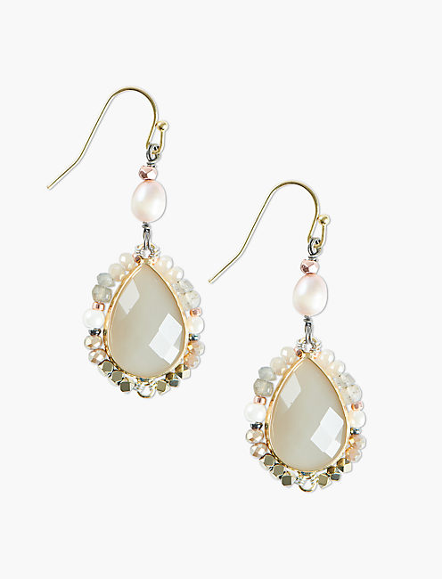 PEARL AND PINK DROP EARRINGS,