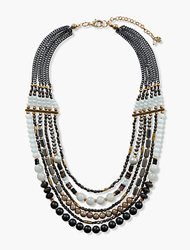 GOLD BEADED STATEMENT NECKLACE