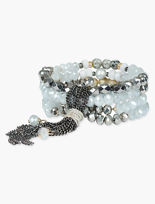 GREY BEADED WRAP BRACELET,