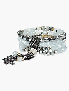 GREY BEADED WRAP BRACELET