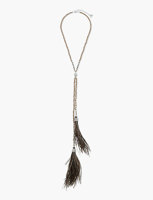 FEATHER TASSEL CHOKER  NECKLACE,