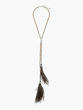 FEATHER TASSEL CHOKER  NECKLACE